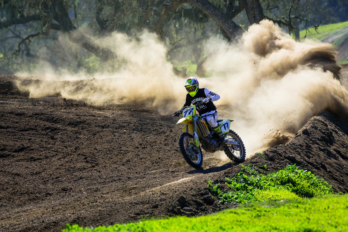 Brendan Lutes creating some dust.