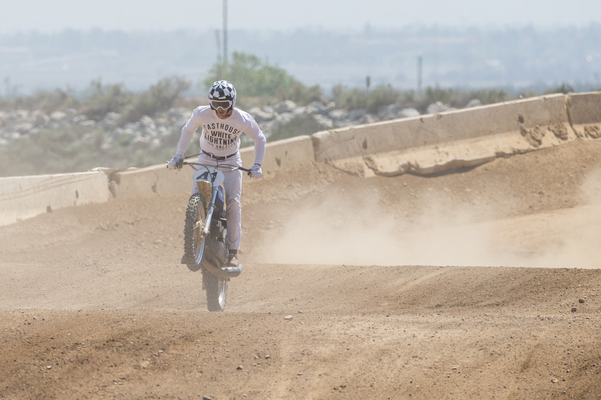 The track got a little dusty, but it didn't bother anyone. Here, Sean powers through the dust en-route to the win.