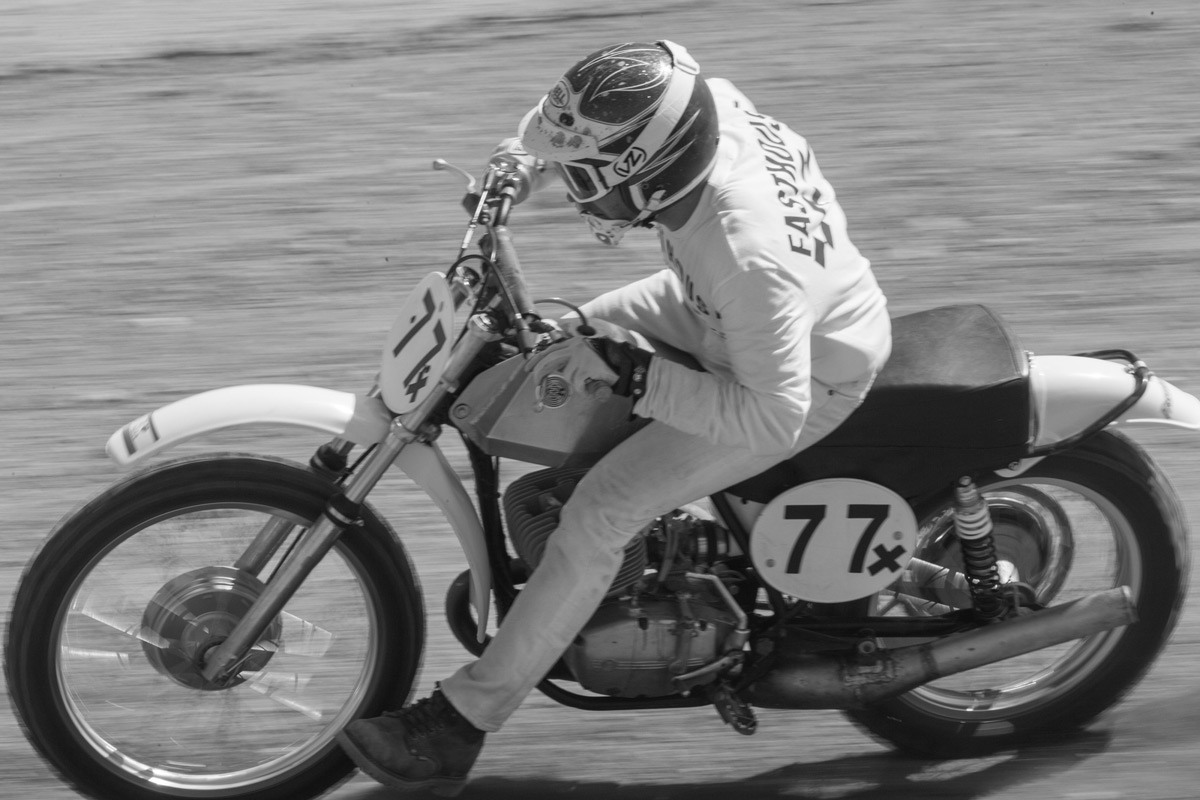 Lutes sliding his CZ250 around the high-speed Glen Helen circuit.