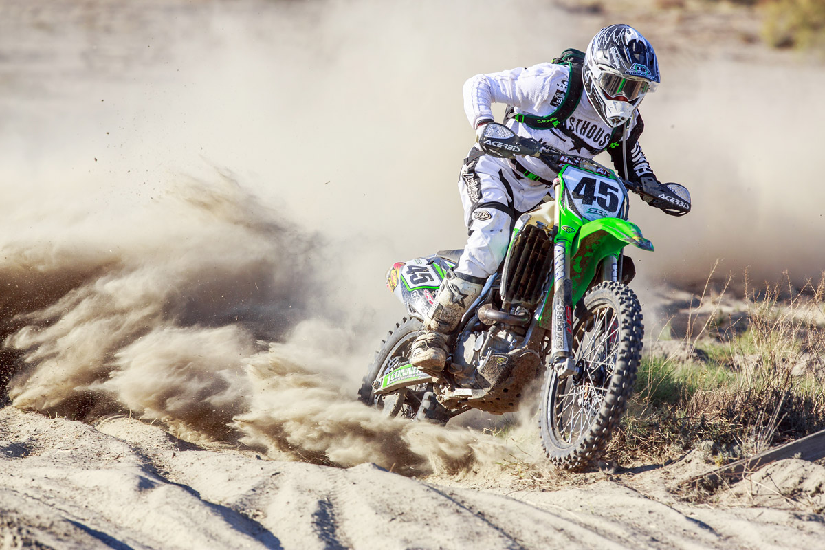 Ryan during this past year's Lake Elsinore Grand Prix. This shot was taken mid race in the Harvey Mushman 100.