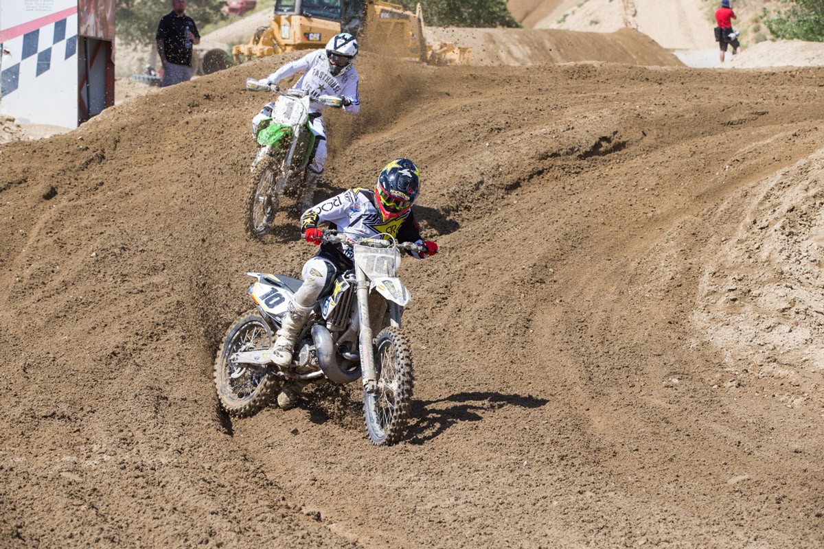 Rockstar Energy Husqvarna's Colton Hacker was second overall and battled with Sean in the second moto.