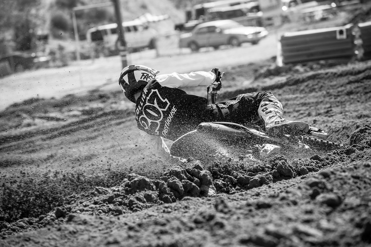 Collier digging into the deep Glen Helen loam during his Pro Sport moto.