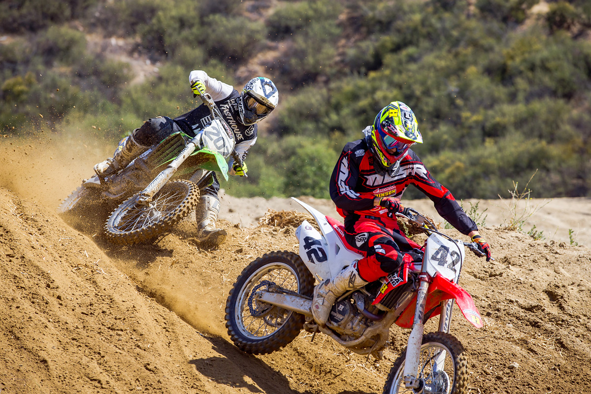 Sean chasing Jones during their first REM moto.