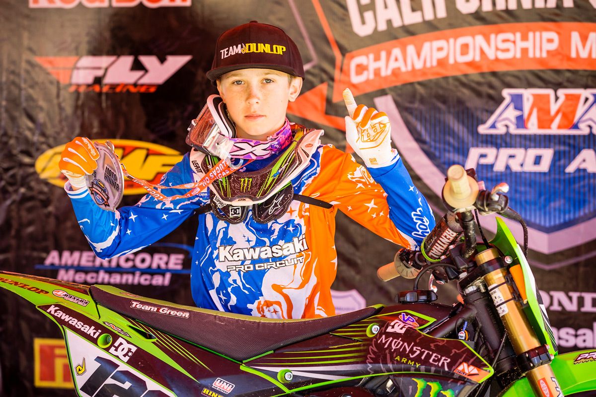 Young Kawasaki Team Green racer Carson Mumford was amoung the top 80cc riders.