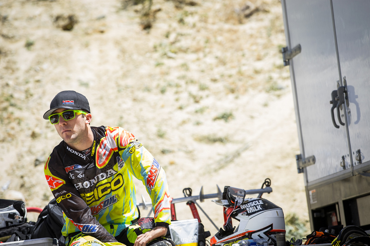 Tomac tested suspension for most of the day.