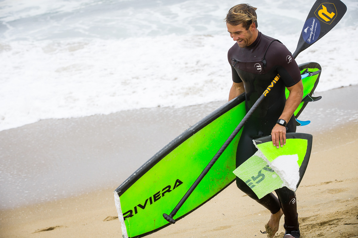 Broken boards aren't an uncommon site on a big day at The Wedge.