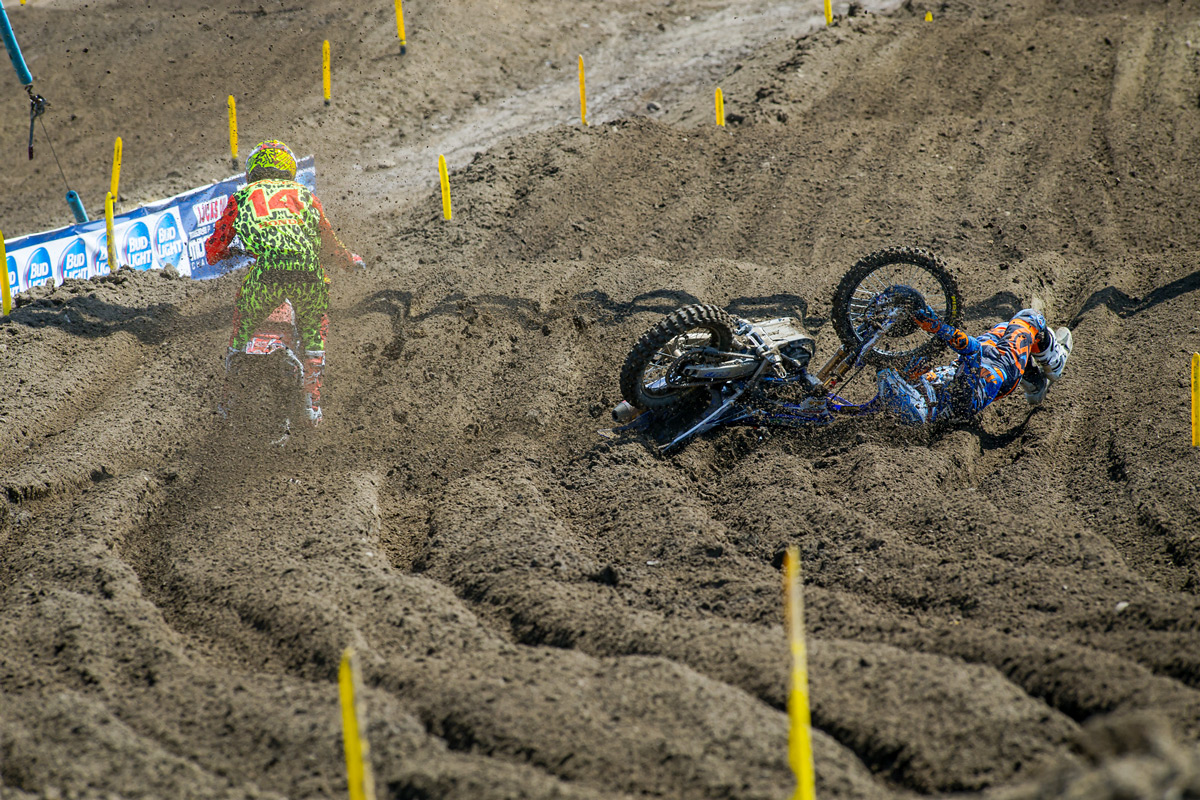 The deep ruts bit Phil Nicoletti during practice. He got up un-injured.