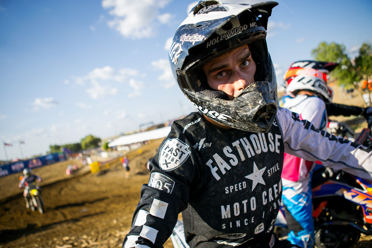 Sean was absolutely spent after the second moto. His face says it all.