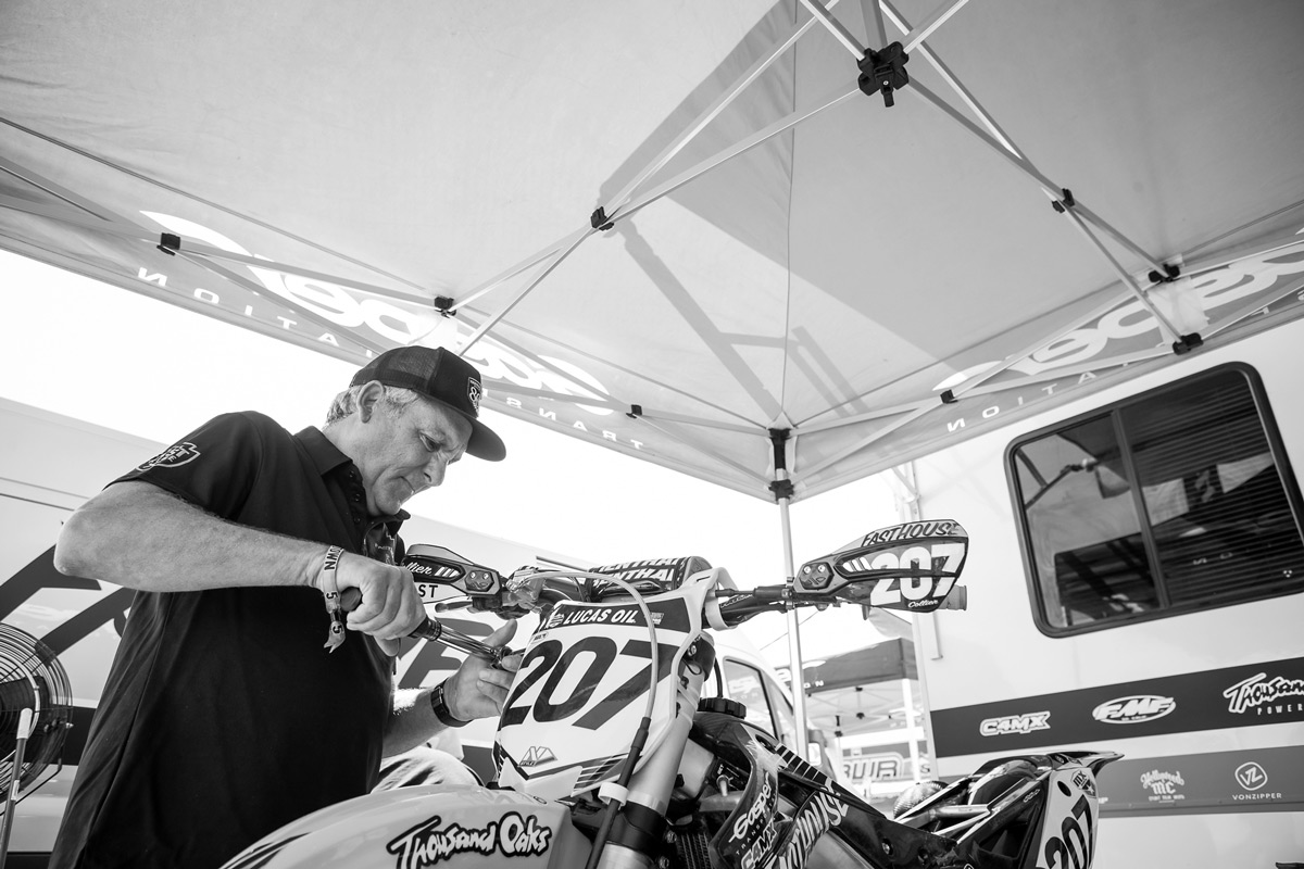 Dave double checking the bike before practice.