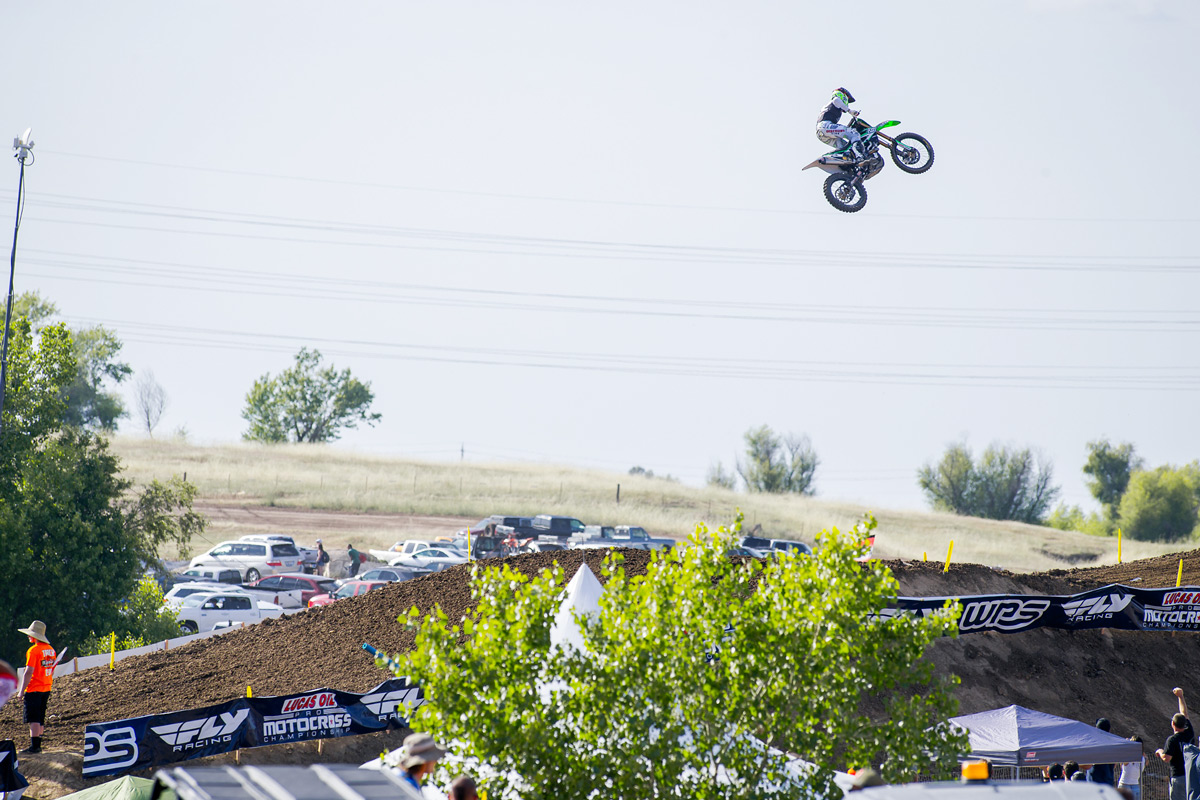 This 150-foot leap was massive. Only a handful of racers hit it throughout the day. Here, Chad Reed flies over the jump.