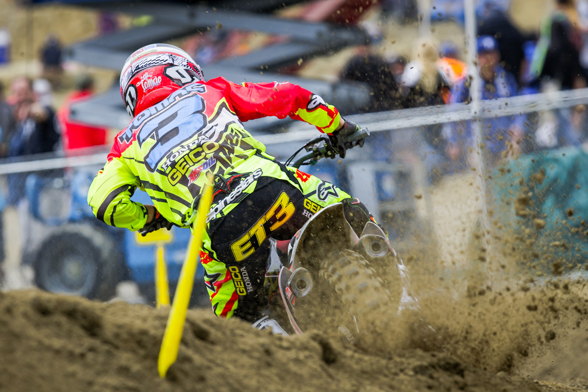 This was all anyone saw of GEICO Honda's Eli Tomac. He went 1-1 again.