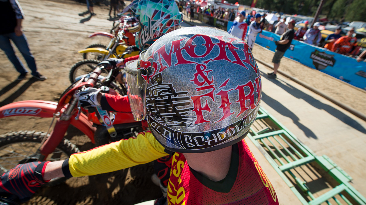 "FMF's Donny ""Lil'D"" Emler had the raddest helmet for the Smoke And Fire race."