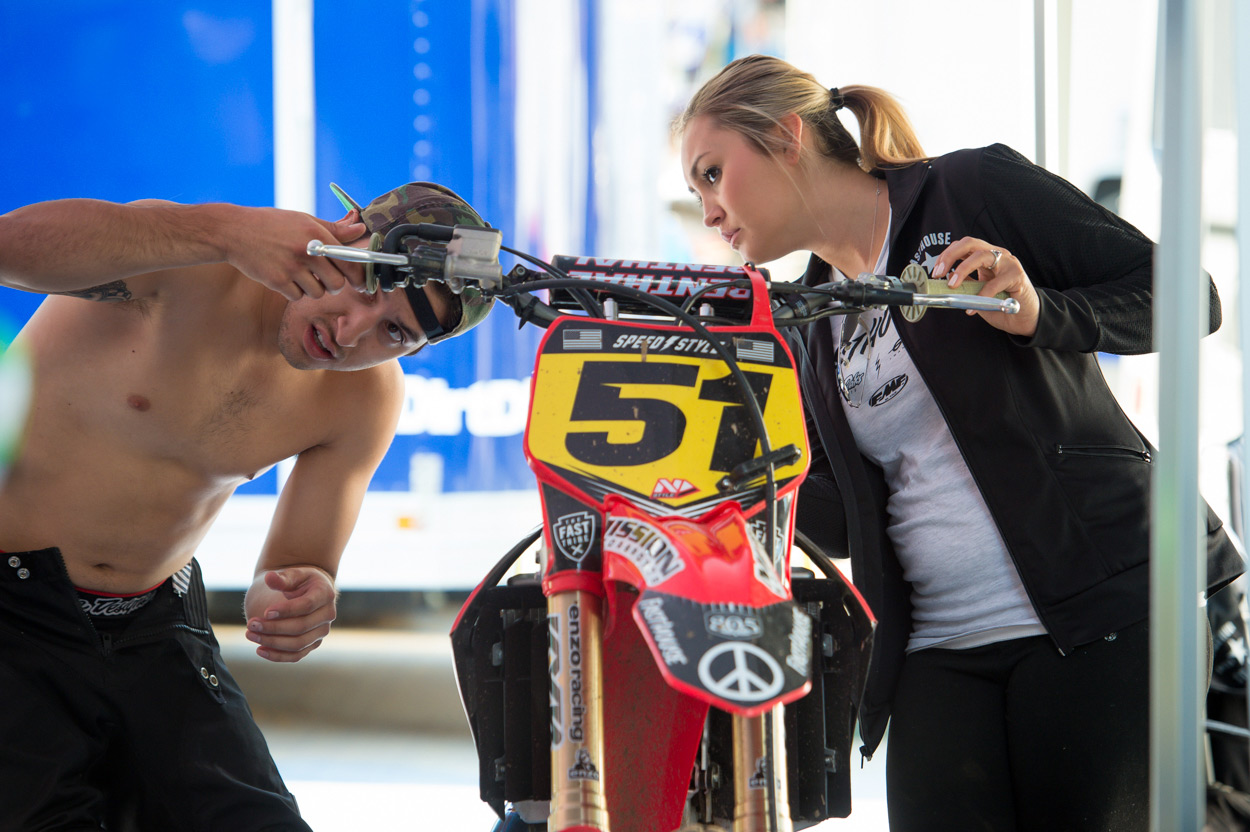 Ricky Diaz and his girlfriend Kaile Fletcher trying to figure out how the throttle works on his CRF.