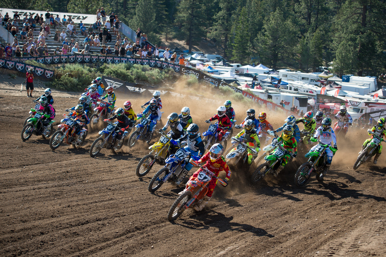 Troy Lee Designs' Sean Cantrell taking the B-Class holeshot.