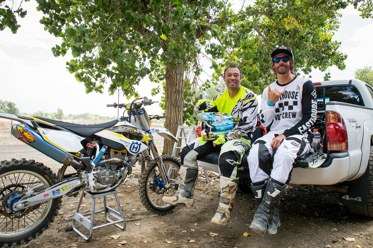 Sunny Garcia and Dave Castillo taking a break from motoing.
