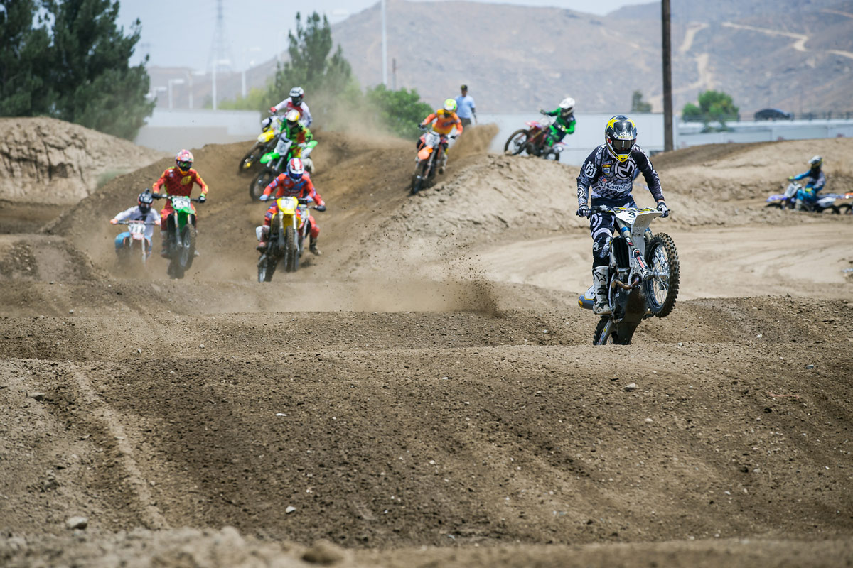 Brown leading the pack on the first lap of moto one.