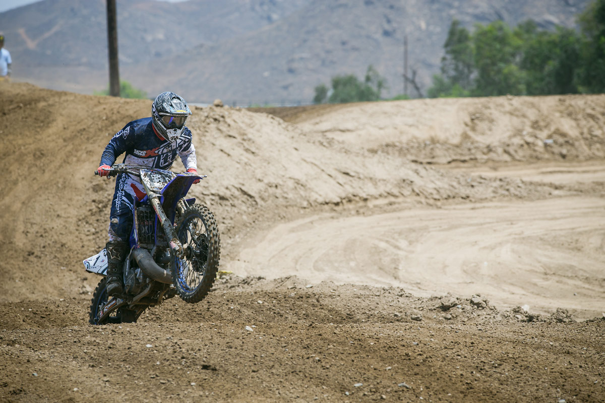 Pingree was going fast aboard his two-stroke YZ250.