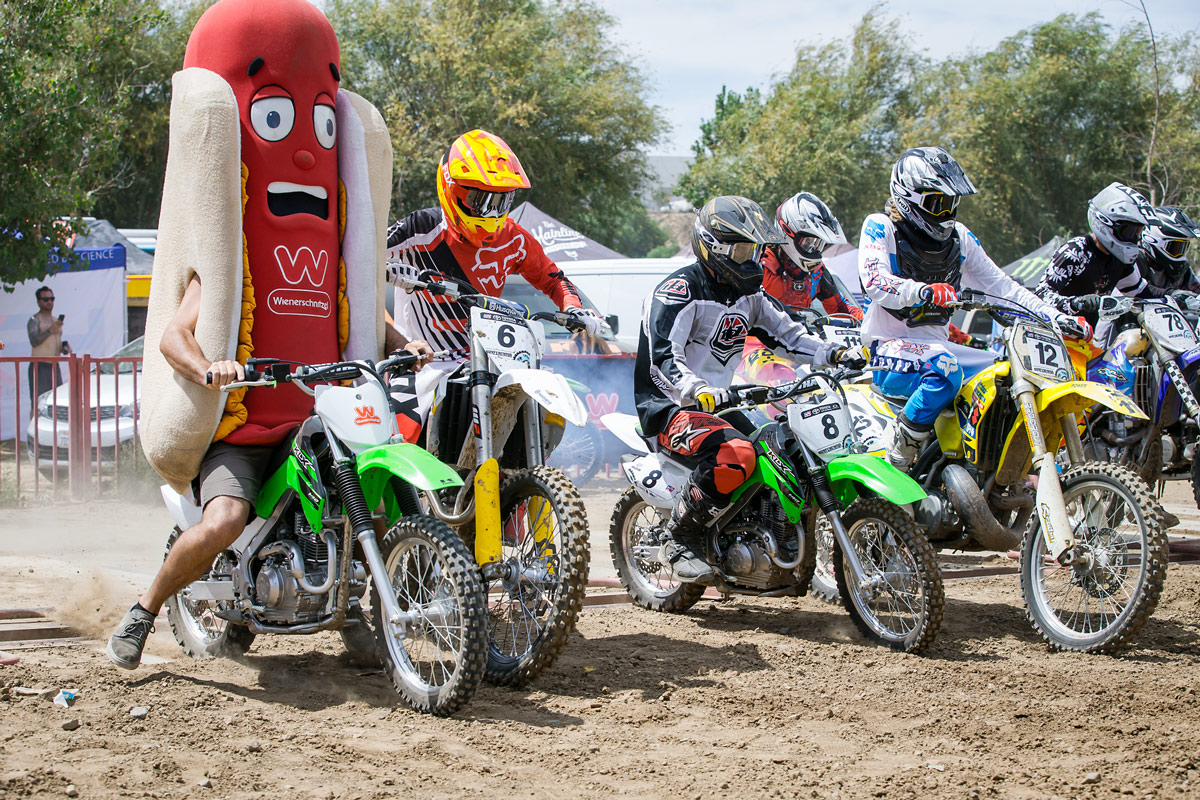Like we said... It's all about good times at Surfercross. Even the Wiener got to practice starts.