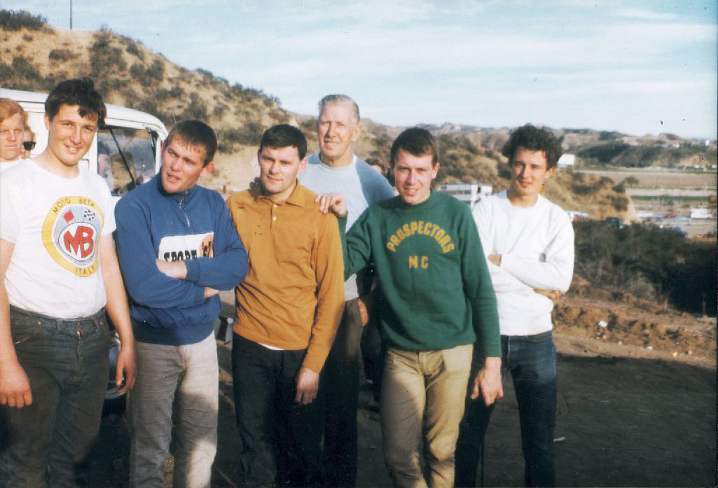 At Castaic Ranch (From Left to Right) me when I road a 100cc Moto-Beta, Joel Robert, Dave Bickers, my dad, Roger Decoster, and my brother.