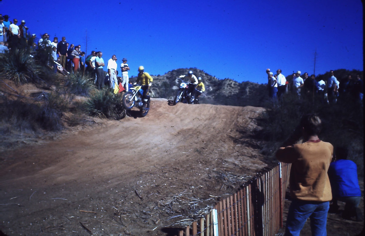 Joel Robert aboard a CZ, battling with Ake Johnson (Husqvarna), and Roger DeCoster (CZ) at Castaic Ranch.