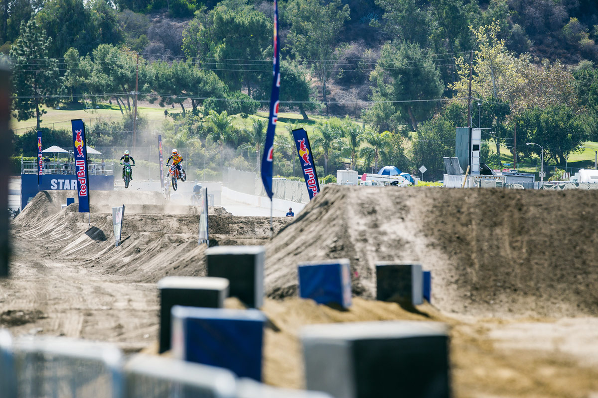 Red Bull KTM's Dean Wilson and Josh Hill battle down the course.