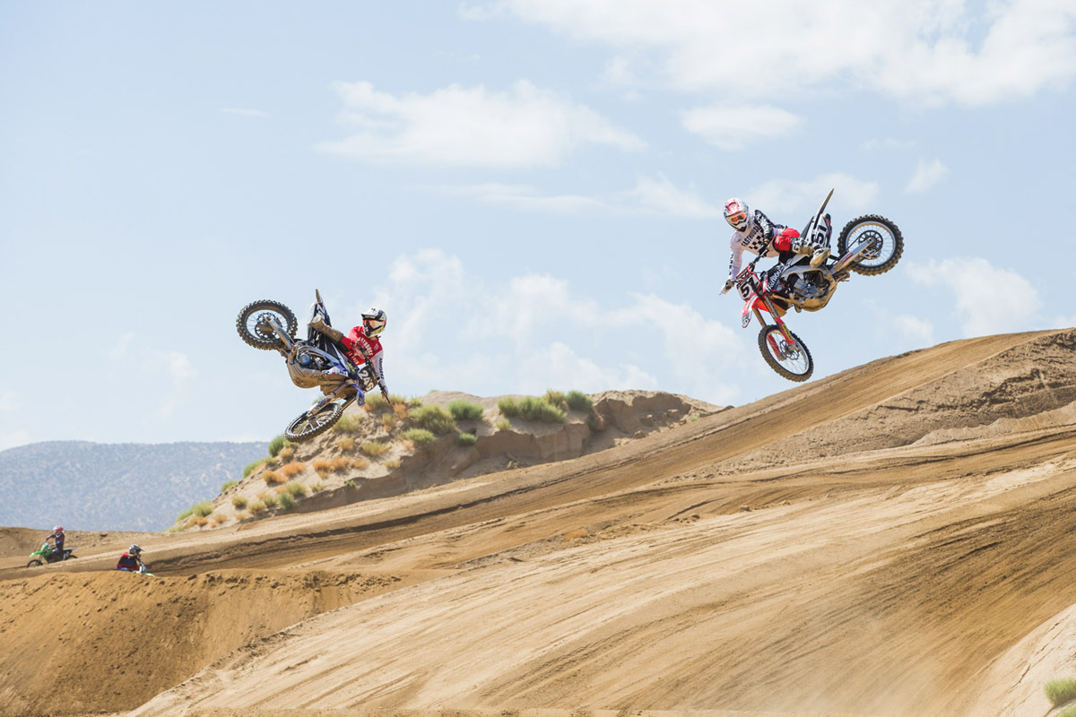 Willy Simons Jr. and Ricky Diaz throw syncronized whips.
