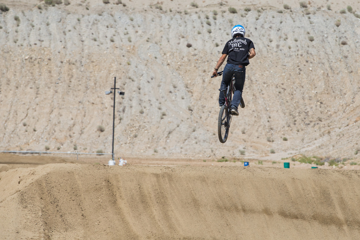 Diaz sending it on his mountain bike.