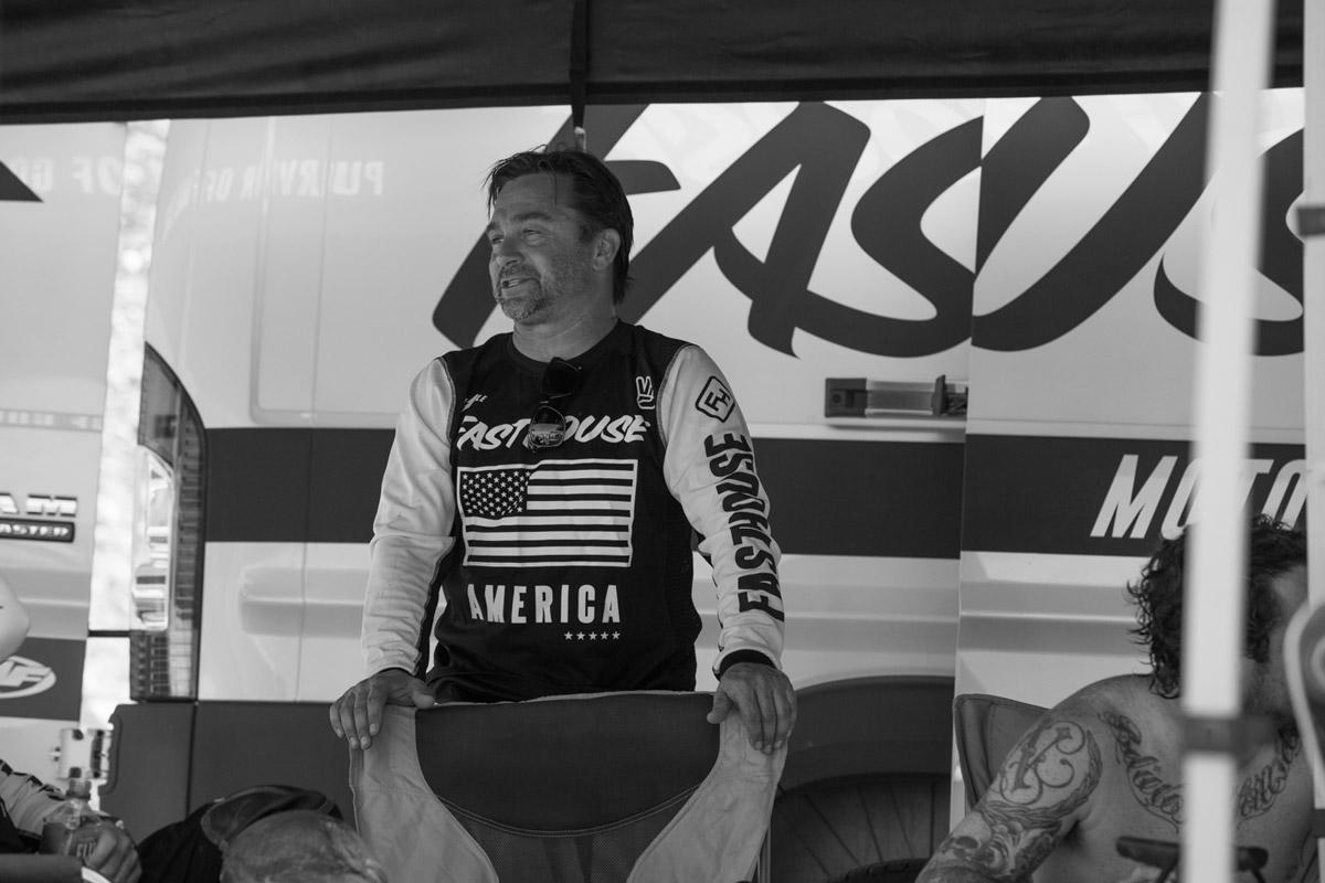 Stuntman Gary Guercio between motos.