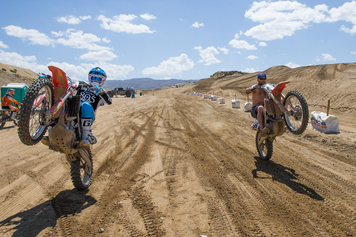 Tony Parks and Diaz having a little fun after motos.