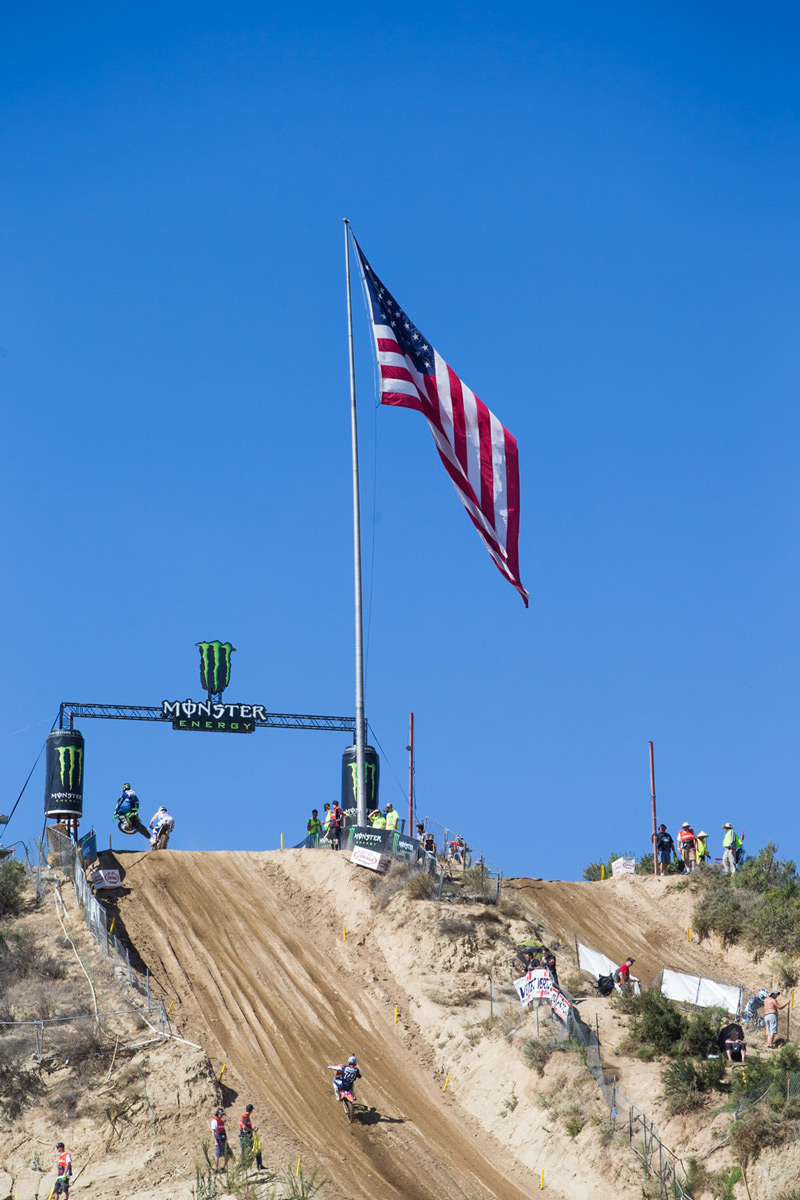 The gigantic American flag flew over the 2015 USGP at Glen Helen.