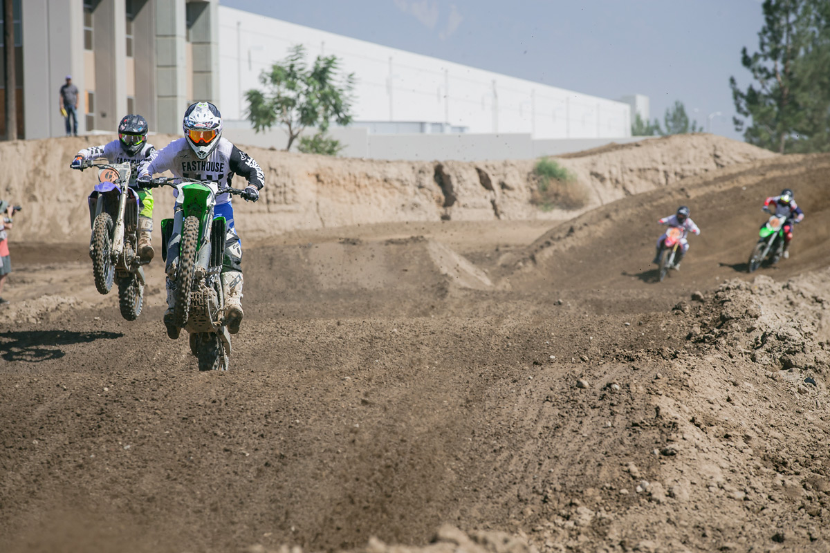 Richard Taylor about to make a pass on his dad in the rollers during their first moto.