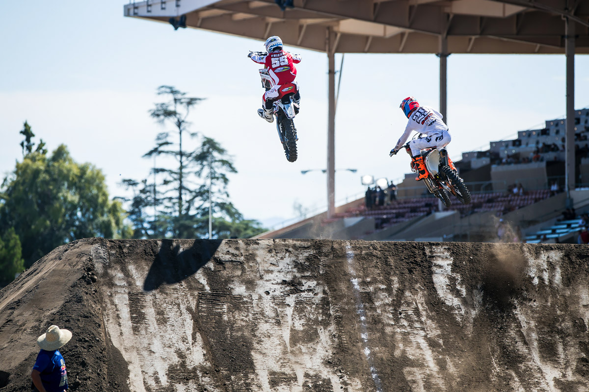 One of the scarier moments happened when MCR's Vince Friese got a case of whiskey throttle off this scrub jump. He survived.