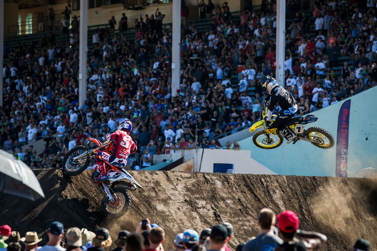 The best racing of the day was between Ryan Dungey and James Stewart during the semi-finals.