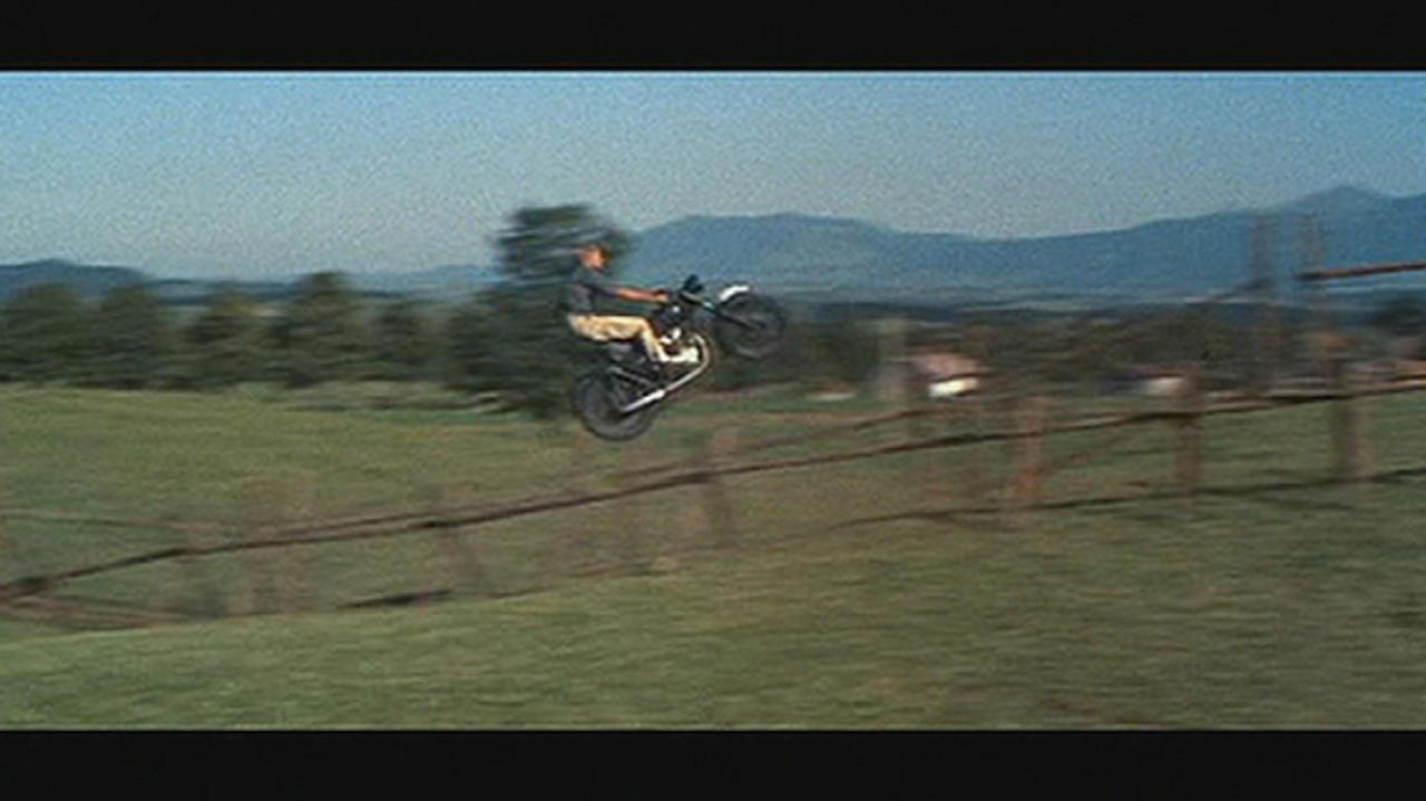 The famous jump that Bud Ekins performed.