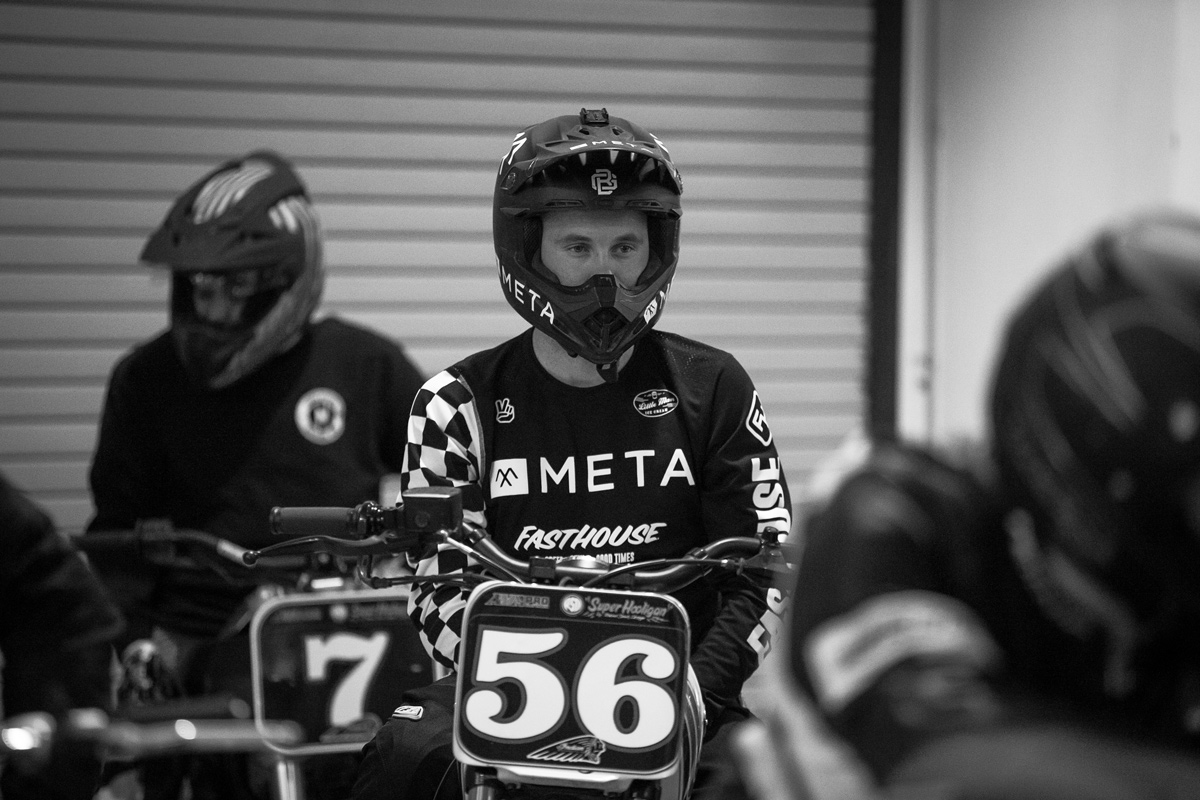 Meta's Ben Giese with an intense race face prior to qualifying aboard his RSD Yamaha Bolt.