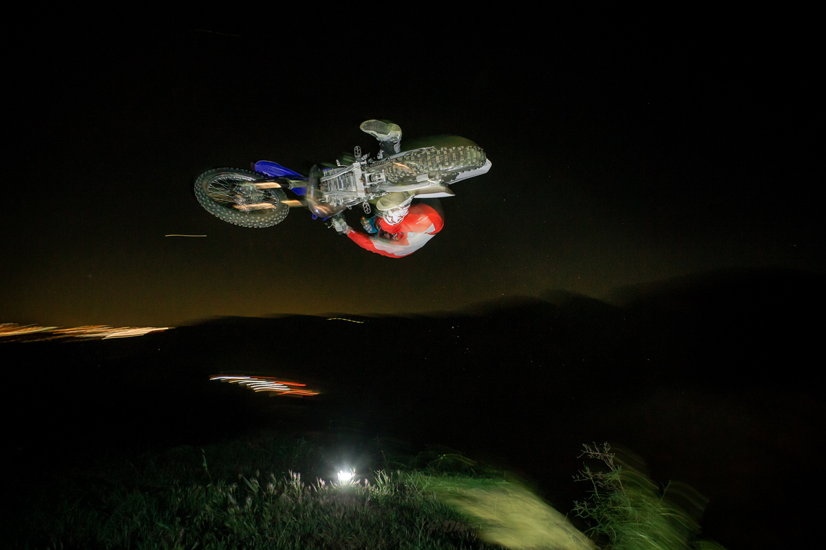 Tyler Bereman sending it in the dark.