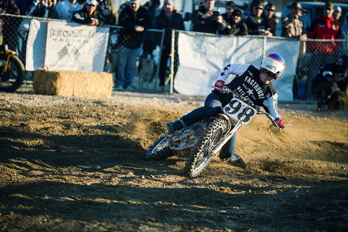 Ajay Hateley is just as talented on two wheels as his dad, sliding his dad's old Triumph at Red Bull Day In The Dirt.