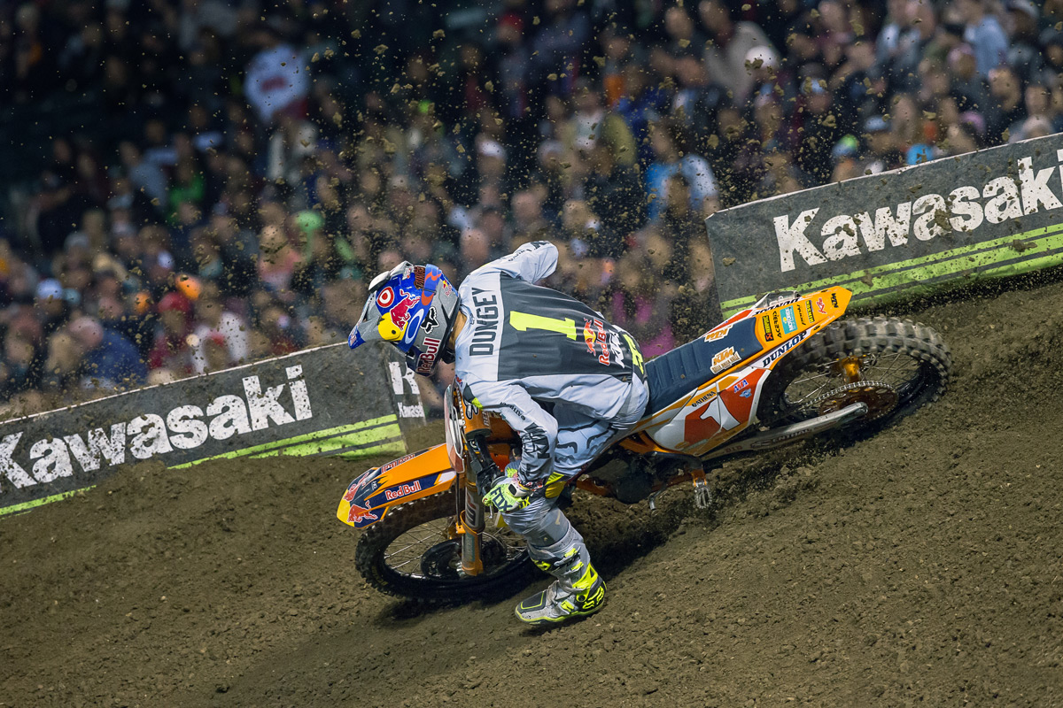 Dungey had to dodge some roost to get into second place.