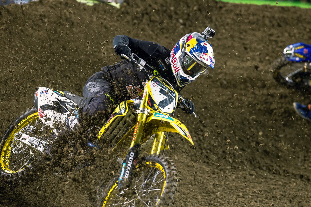 Stewart was hit by Dungey in the main event, which caused the Suzuki rider to high-side into the berm. The resulting impact knocked him out. No word on when his return to action will be.