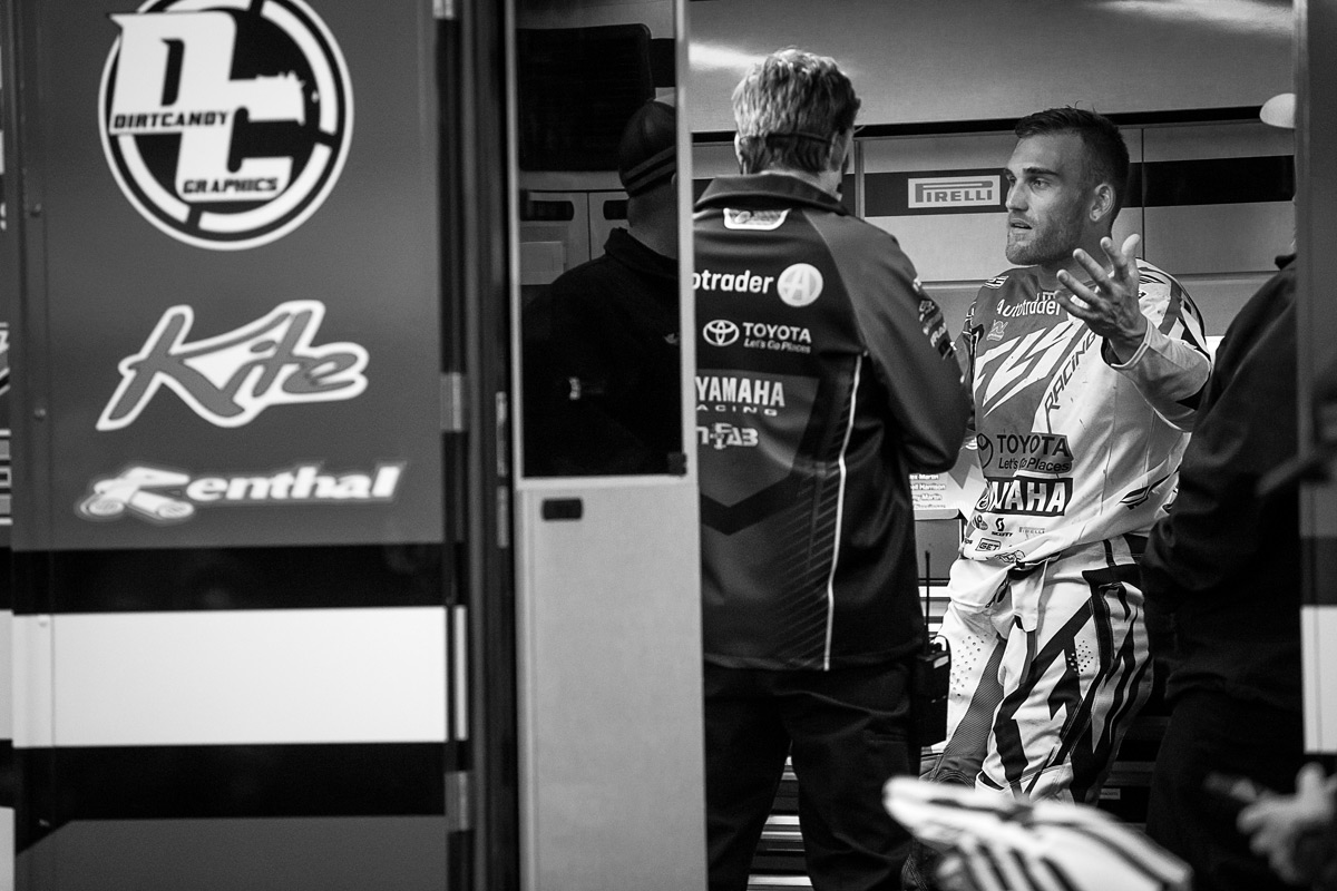 The biggest talk of the night revolved around Peick and Friese. Here, Peick talks with his team following the on-track haymakers he threw at Friese.