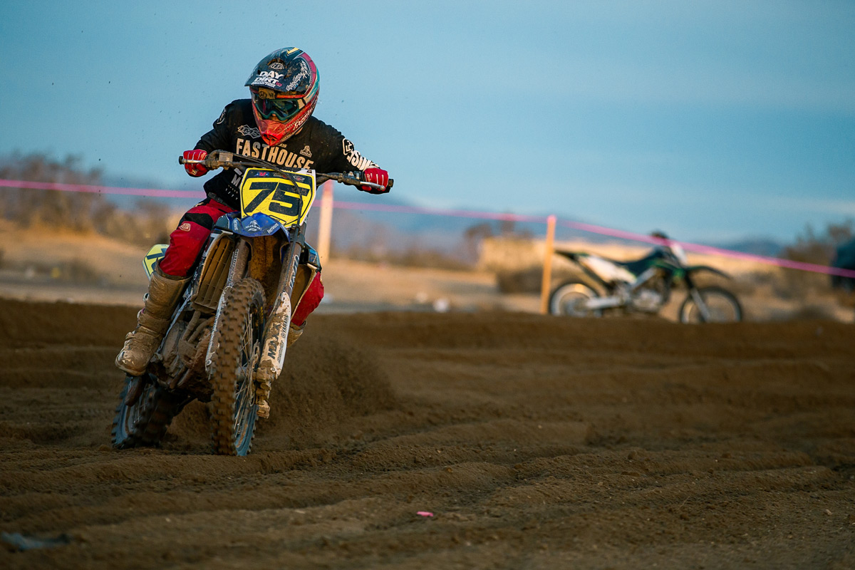 Trevor Stewart getting sideways at the 2016 Adelanto Grand Prix.
