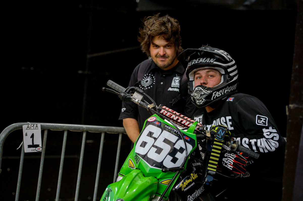 Tyler Bereman and his mechanic Rob Brown.