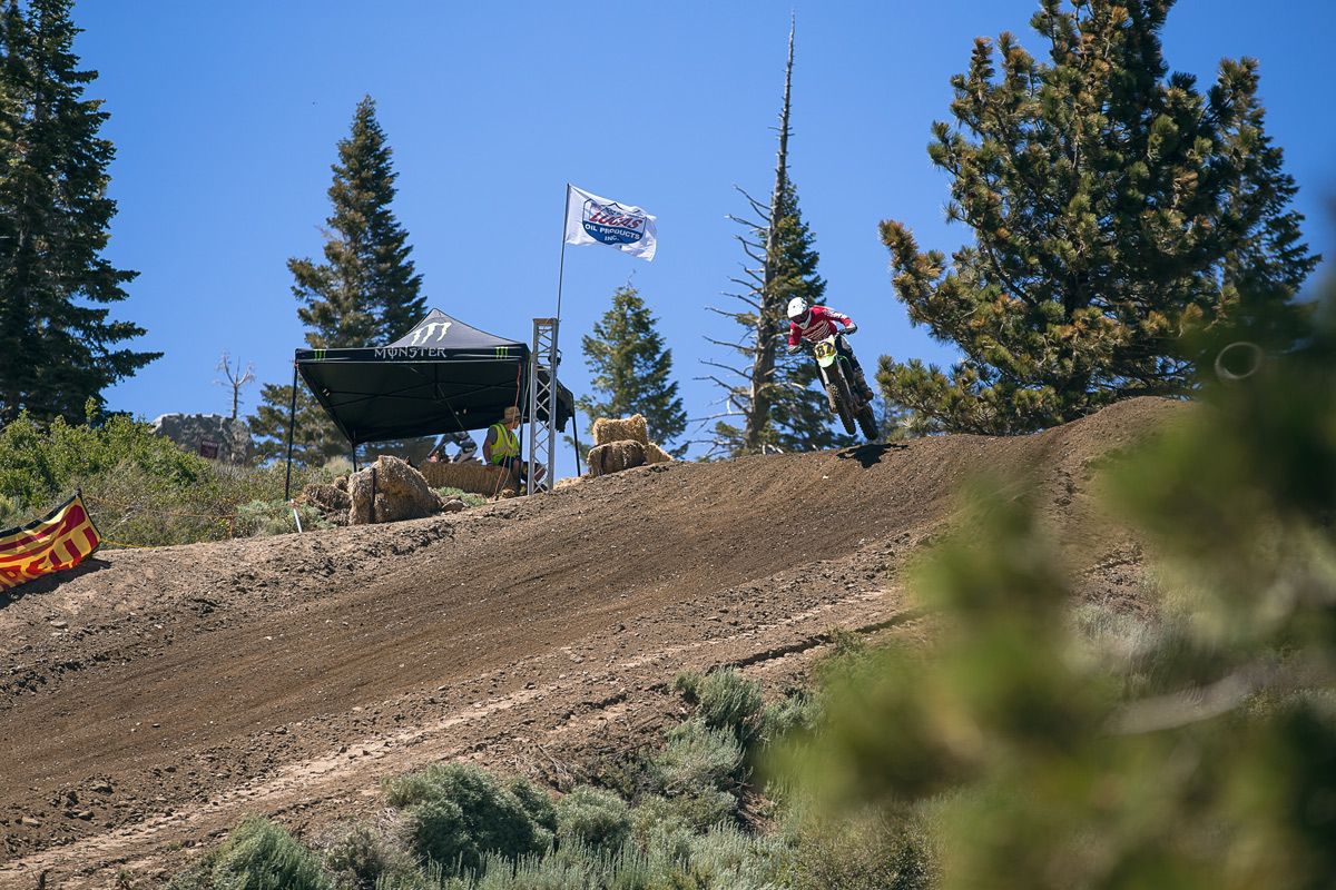 Oakley Lehman about to drop down the infamous Mammoth downhill.