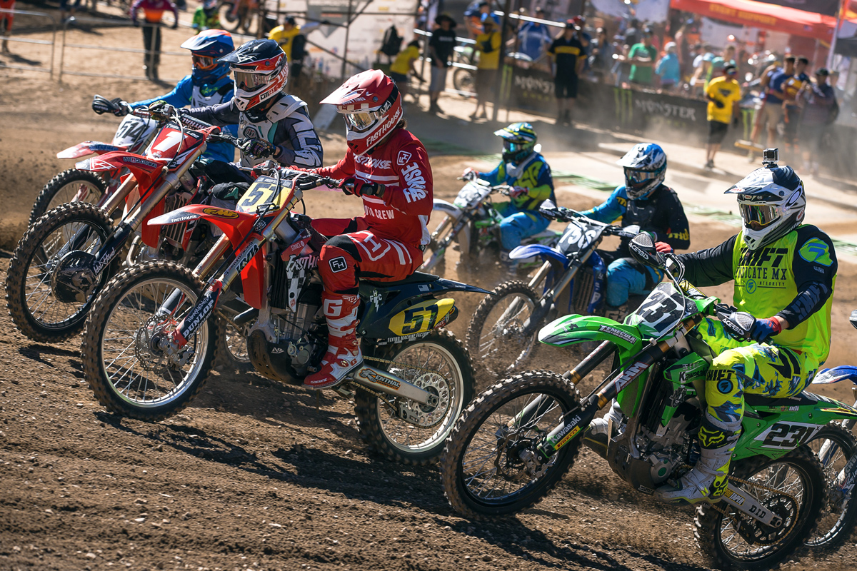 Ricky Diaz pulling the holeshot in 25-Plus.
