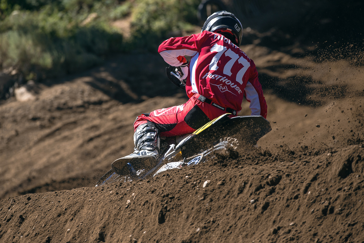 Off-road racer Blayne Thompson gave motoross a go in Mammoth.