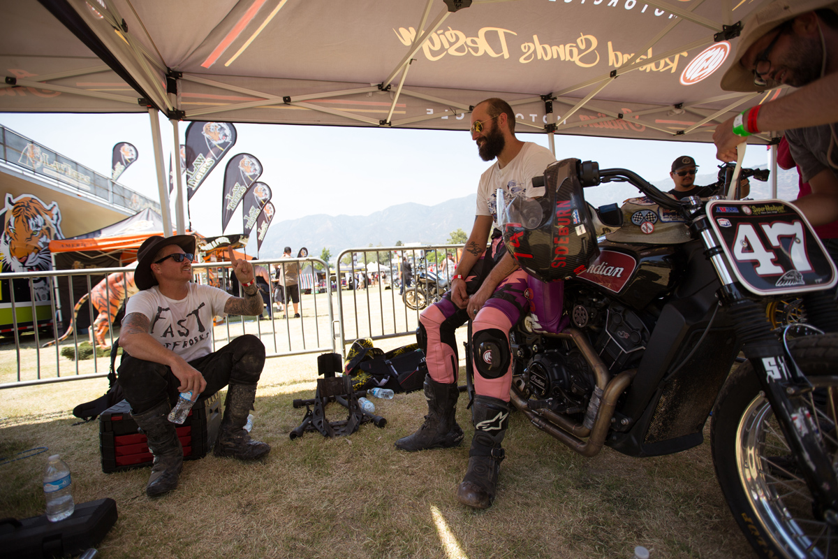 Roland Sands (left) and Travis Newbold (right) discuss line selection between races.