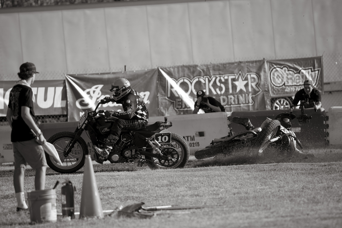 There were lots of crashes on the slick grass track.