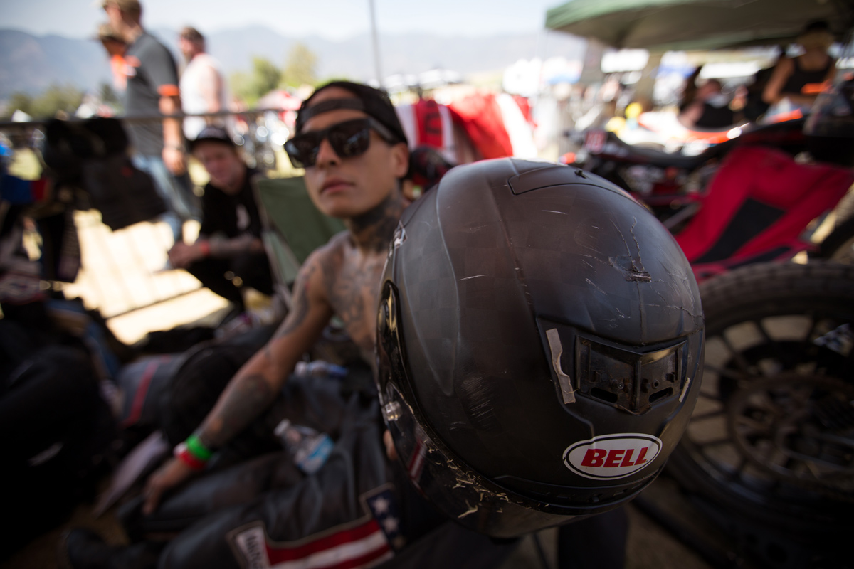 Thankfully Shawn Guardado was okay after his scary crash in practice. His helmet... not so much.