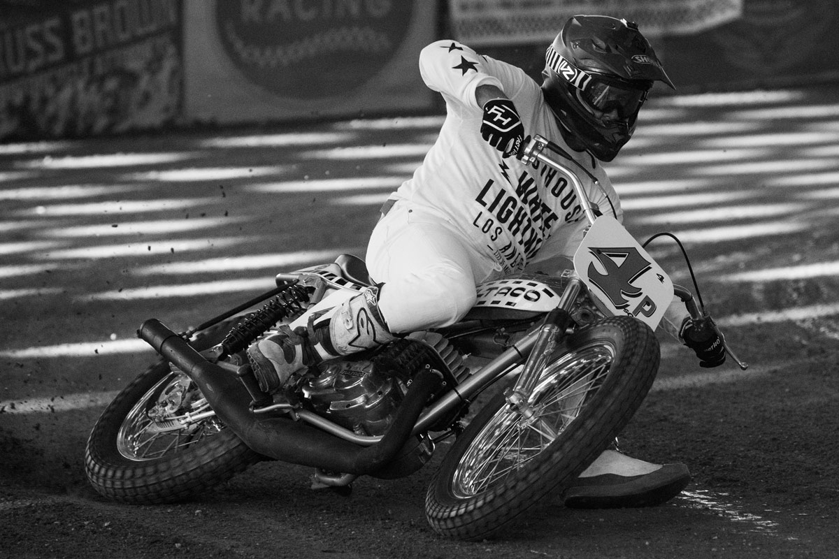 Tyler Bereman's dad Randy showed rad style on his way to victory aboard his Bultaco.