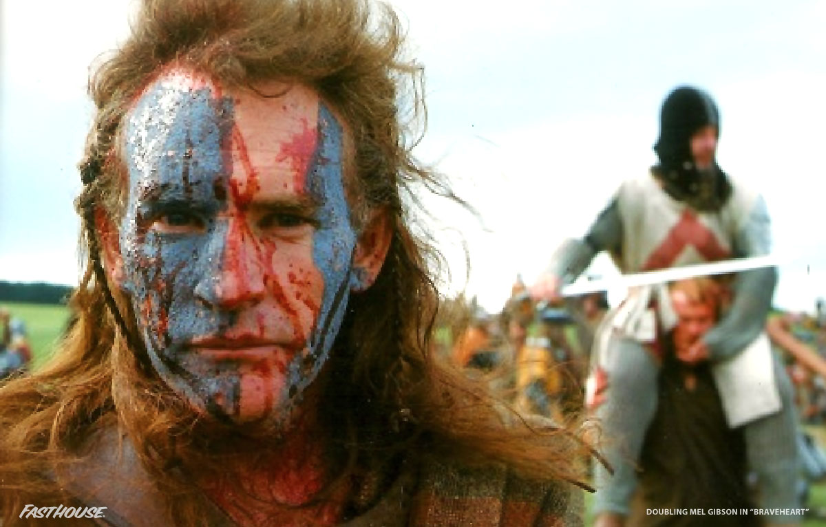 Mic doubling Mel Gibson during filming of Braveheart.